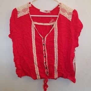 Red and Beige Lace Blouse